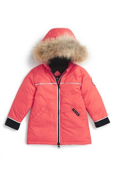 Canada Goose 'Reese' Down Jacket with Genuine Coyote Fur Trim (Baby Girls)