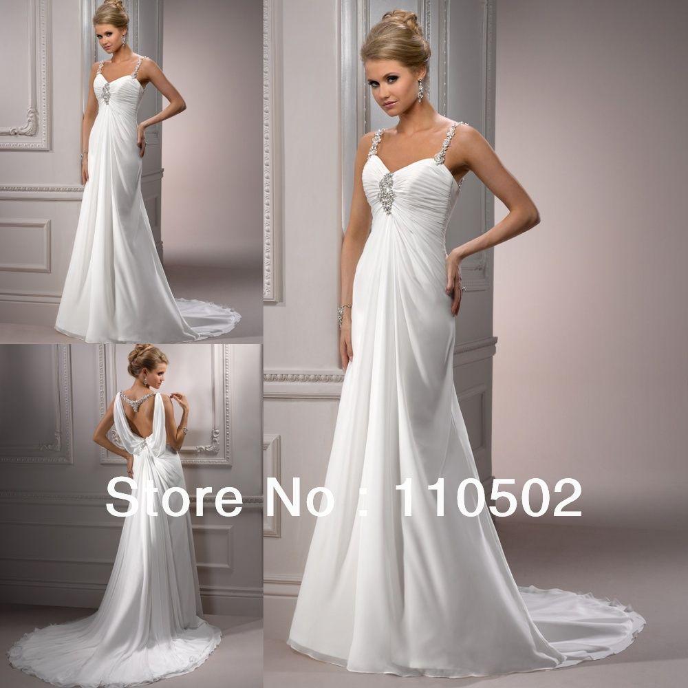 Free shipping fabulous chiffon beaded spaghetti strap bridal dresses ...