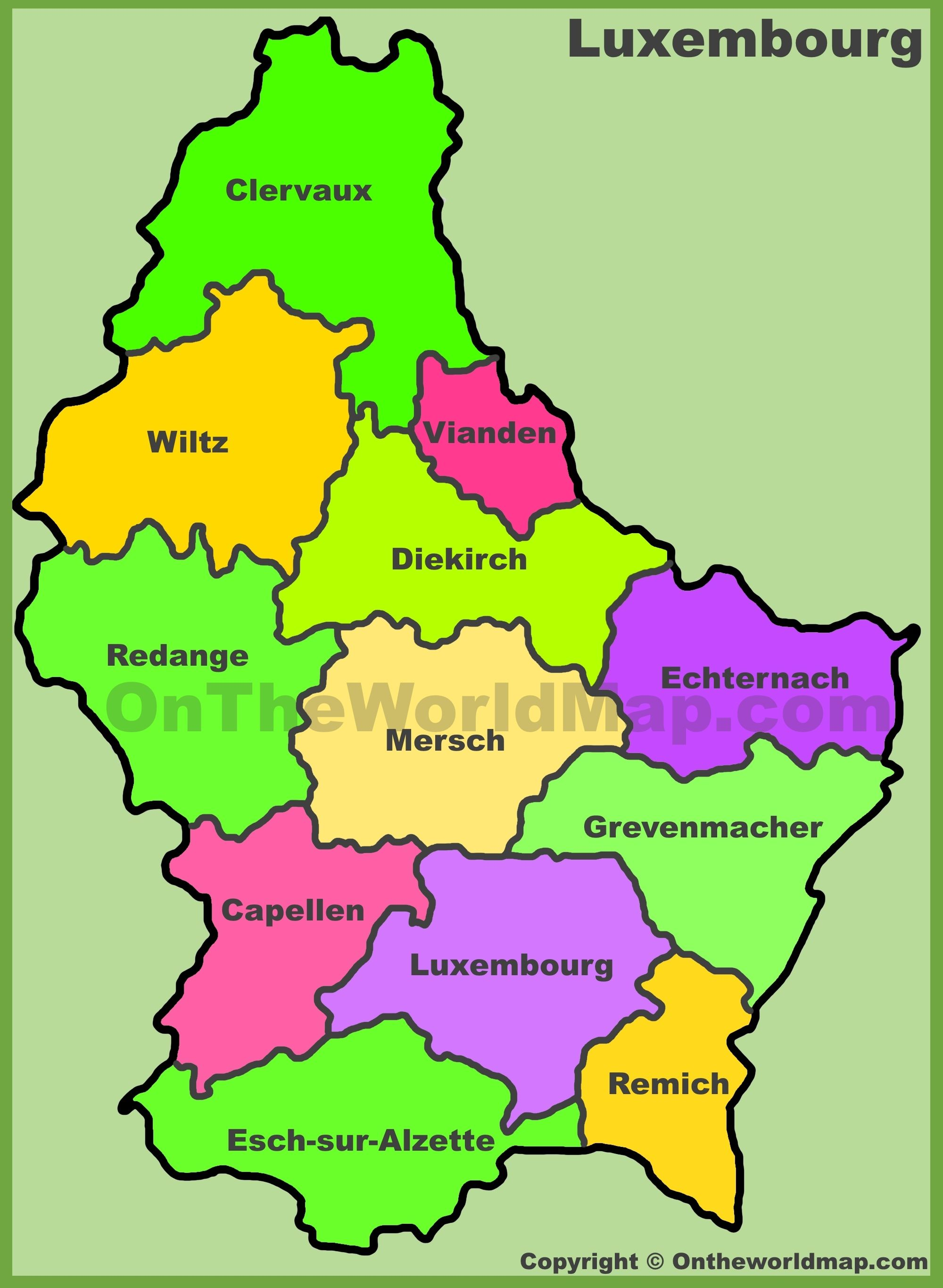 Luxembourg Cantons Map The Federation Of Benelux Luxembourg Map