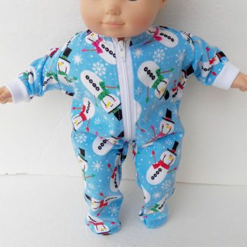 64b685b665 Bitty Baby Clothes handmade for or Twin or Girl Doll or Boy Pajamas Pjs  Sleeper Flannel Blue Red Green Pink Snowflake Snowman Christmas