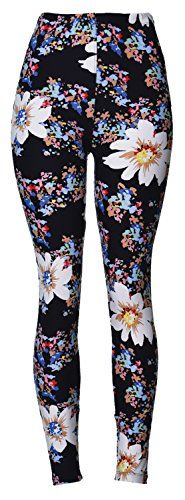Printed Brushed Leggings (Flower Burst), One Size Fits All...
