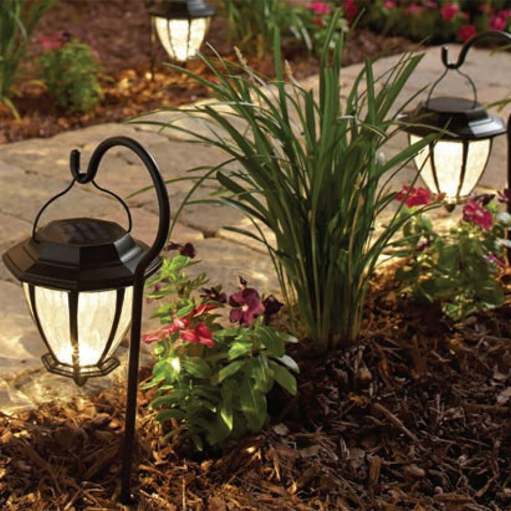 hampton bay solar matte black outdoor integrated led on awesome deck patio outdoor lighting ideas that lighten up your space id=45325