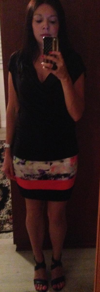 #look: black top, floral skirt black stilettos  #ootd