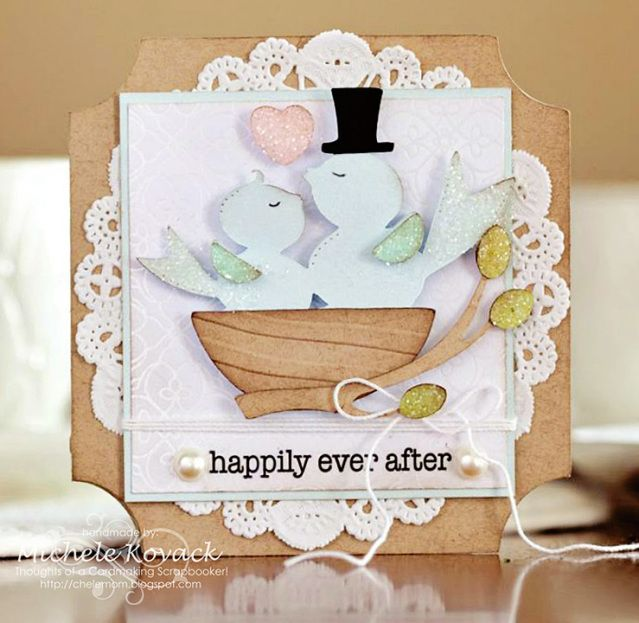 Adorable wedding or anniversary card! uses the Cricut Bridal Shower and Sweethearts cartridge. The sentiment is from SRM Stickers!