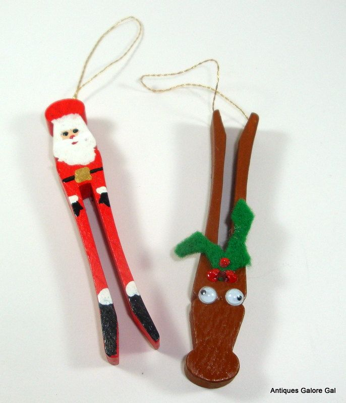 vintage clothes pin christmas ornaments santa claus