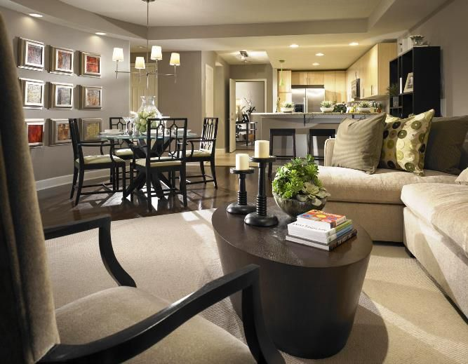casual family design a dining room room decor with wall dining room paint color design color gray brown floor two beige sofas sofa chairs wooden table and - Interior Design Living Room Color