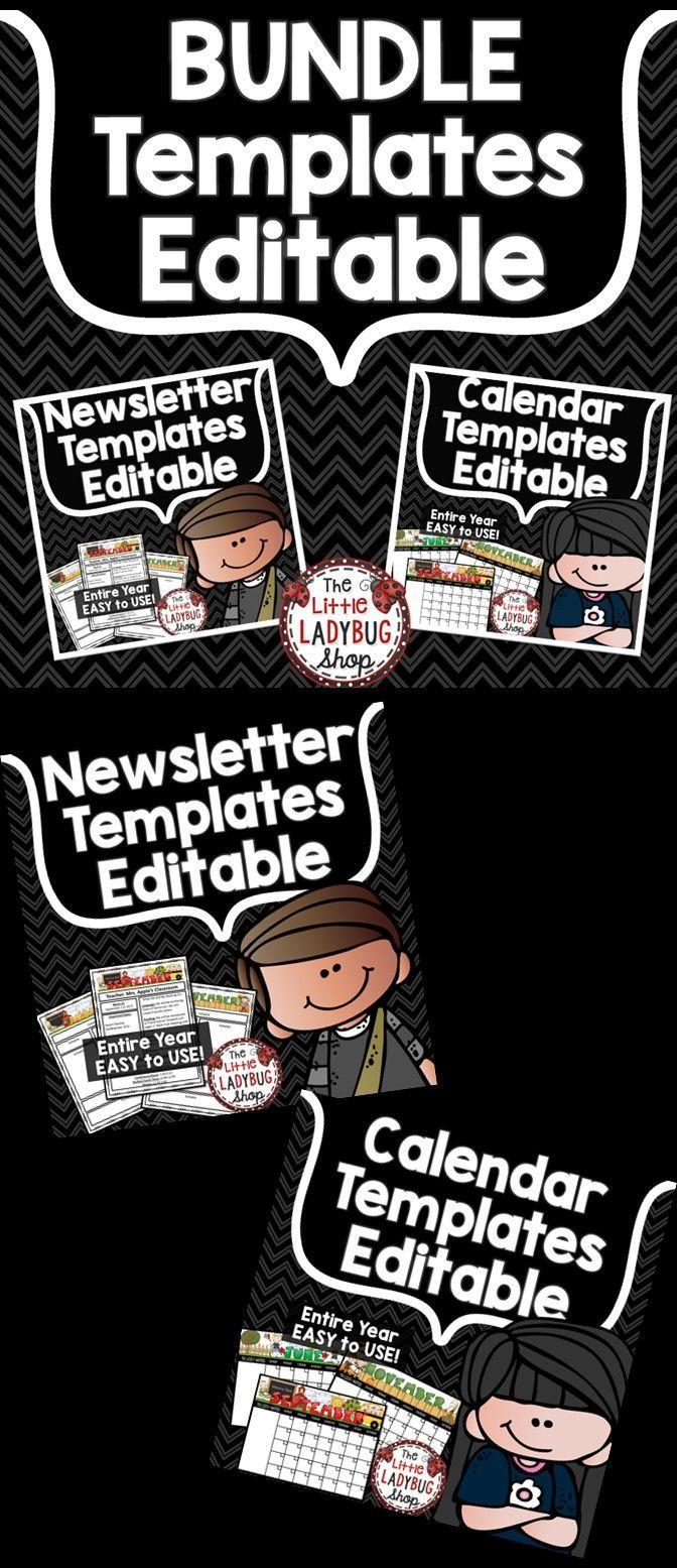 Editable Monthly Calendar 2018-2019 & Weekly Newsletter Template ...
