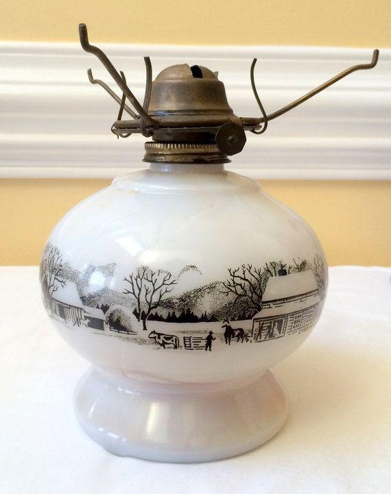 Milk Glass Oil Or Kerosene Lamp Currier Ives By Dejavuvintiques Kerosene Lamp Currier And Ives Kerosene