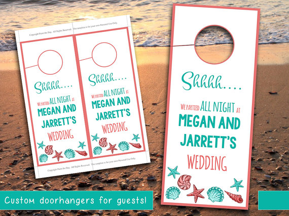 Beach Wedding Door Hanger Template Seashell by PaintTheDayDesigns - wedding door hanger template