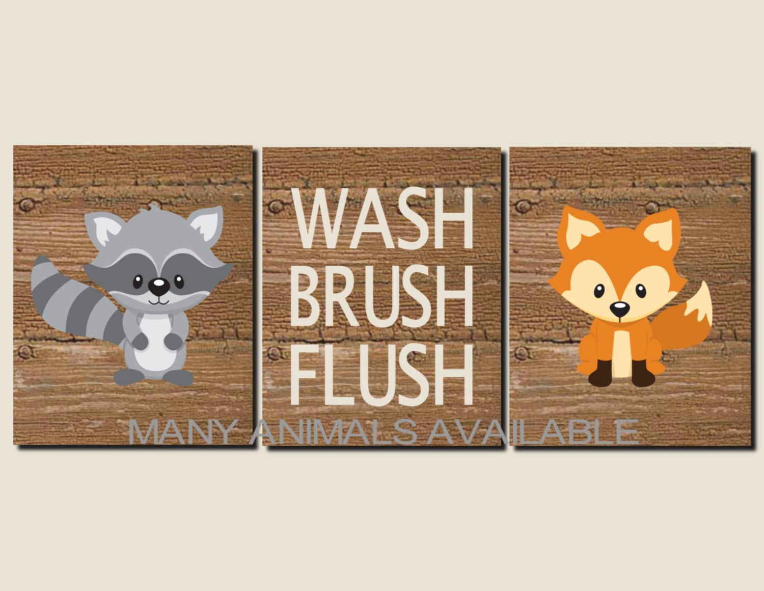 Bottle brush woodland animals - Bathroom Decor Kids Bathroom Art Woodland Animals Rustic Bathroom Art Wash