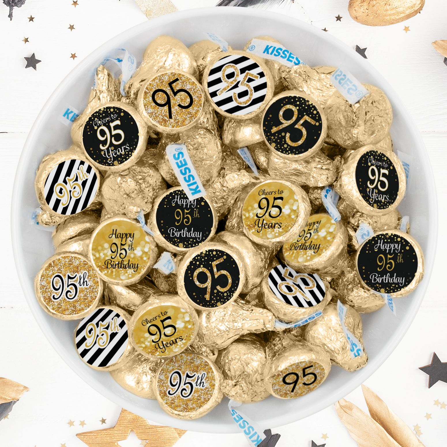 Black And Gold 95th Birthday Party Favor Stickers 180 Count 95
