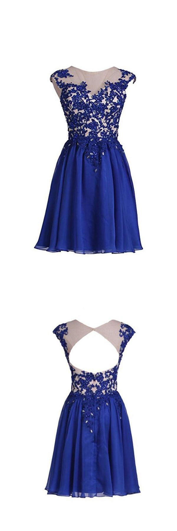 Homecoming dress with applique open back short prom dress pg in