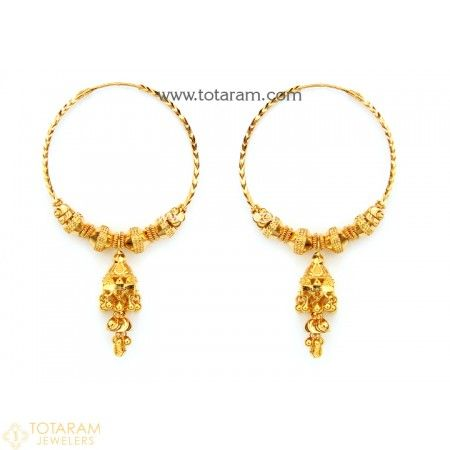 22k Gold Hoop Earrings Ear Bali 235 Ger7606 This Latest Indian Jewelry Design In 12 900 Grams For A Low Price Of 752 30