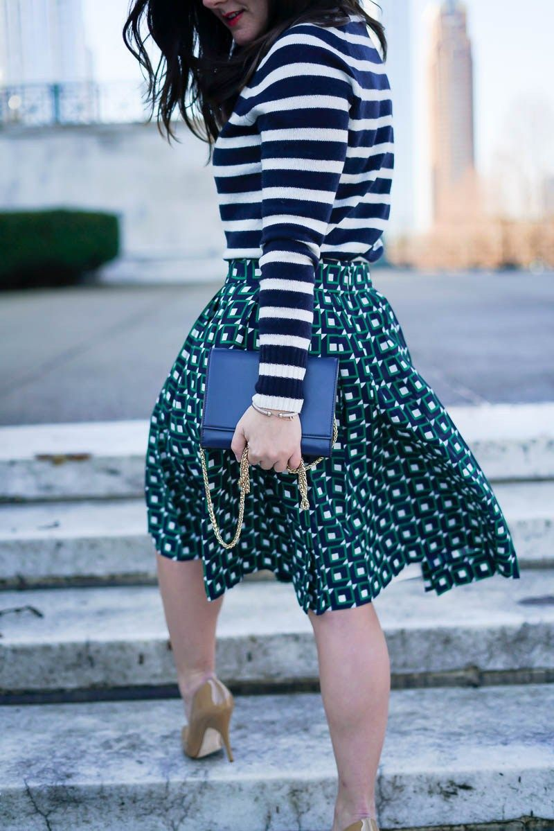 Mixed Print Look J Crew Pleated Skirt Spring Mixed Prints J Crew Navy Stripe Sweater Kate Spade Nude Heels Chicago Blogger A Lily Love Affair