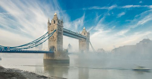 Tower Bridge in the morning Fog from Shad Thames by timcp21  Bridge Butlers Wharf Calm Capital City Anchor Brewhouse City Hall Dawn Fog Great Britain Landmark Lo