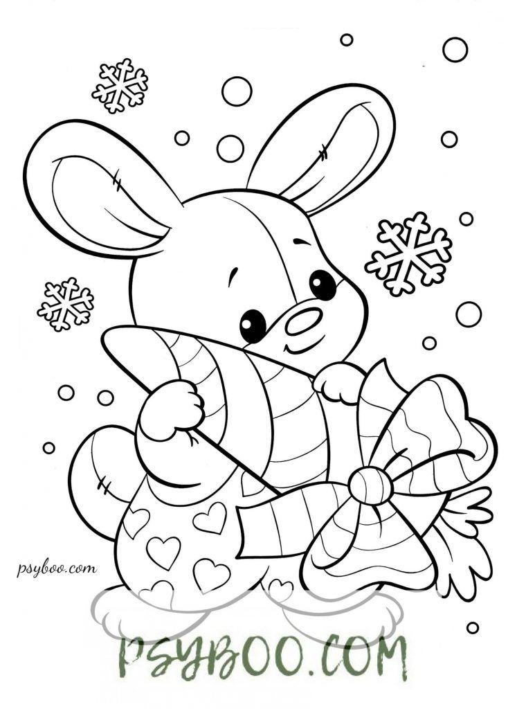 Christmas Rabbit Carrot Gift Coloring Page Christmas Coloring Books Coloring Books Coloring Pages