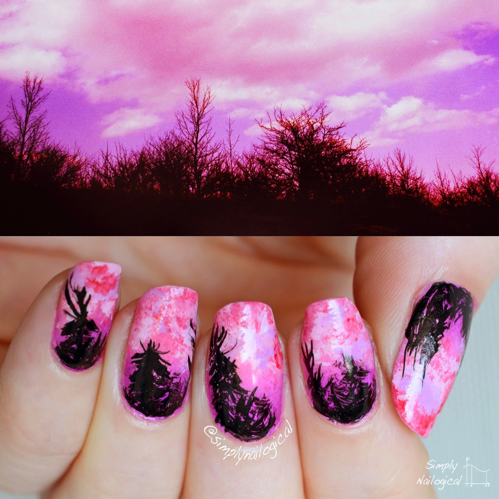 Simply Nailogical Forest Silhouette Nail Nails Nailart