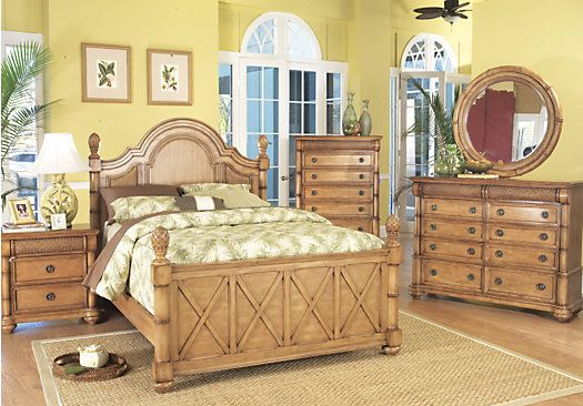 Cindy Crawford Key West Queen Light Pine 5Pc Panel Bedroom Cindy