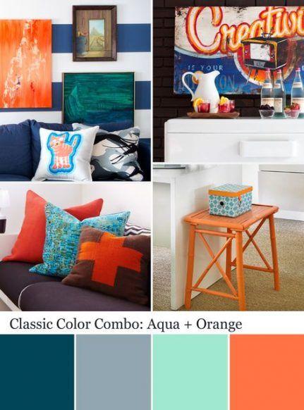 New Living Room Grey Orange Aqua Ideas   Room colors, Home ...