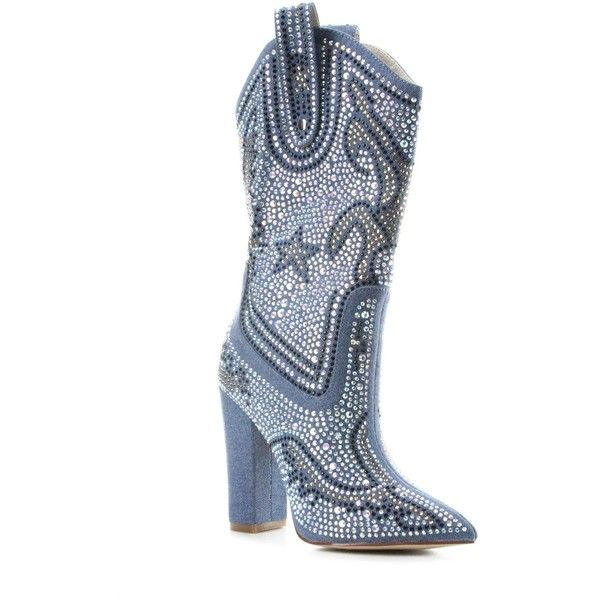cbb81657c438f Cape Robbin Beautiful Rhinestone Accented Cowboy Boot ( 65) ❤ liked on  Polyvore featuring shoes
