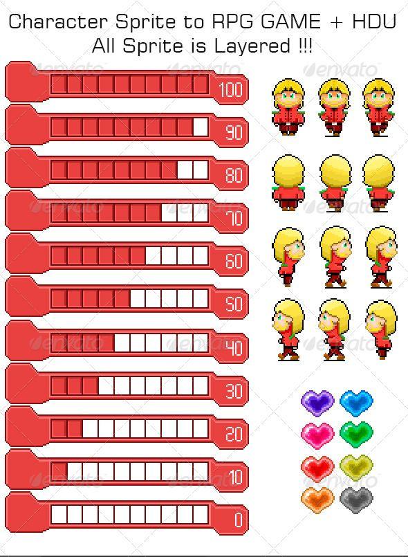 Character+Sprite+Isometric+RPG+Game+++HUD+