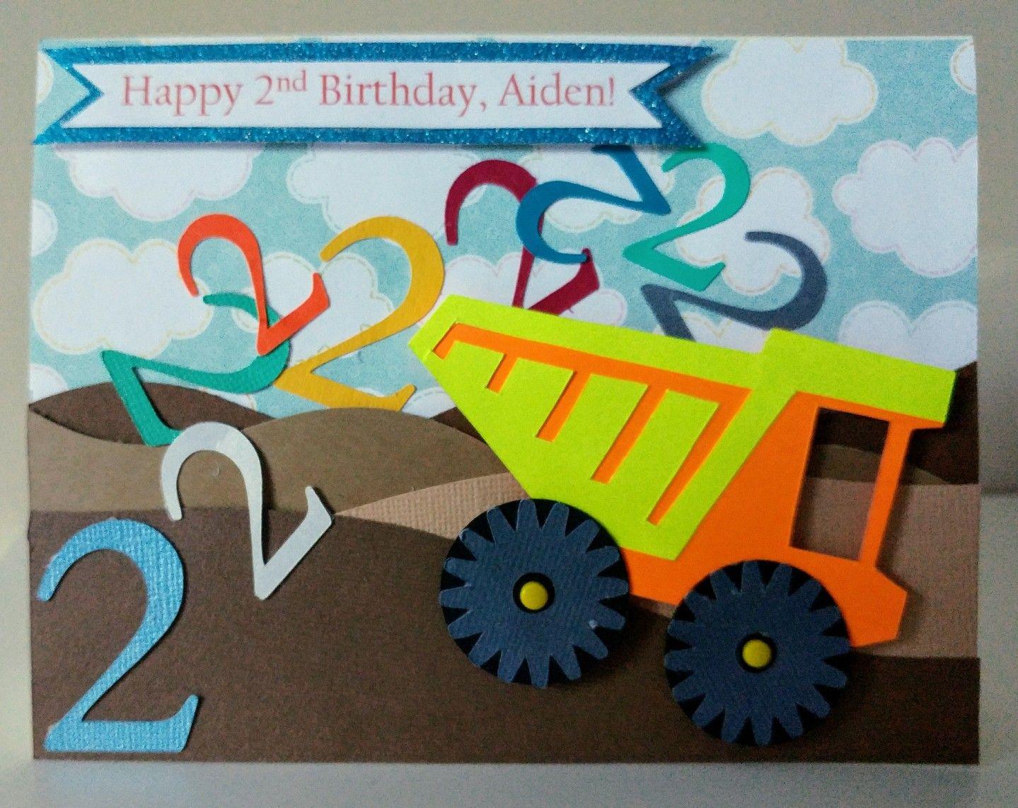 2nd Birthday Card Dump Truck Theme Deborahsmithcreation Kids Birthday Cards Kids Cards Happy 2nd Birthday