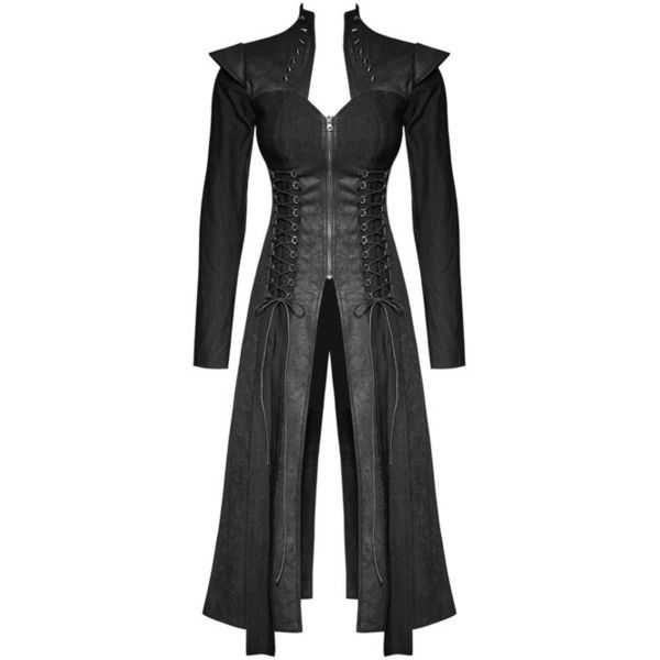 Punk Womens Jacket Long Coat Gothic Black Dieselpunk Dystopian Witch... ($162) via Polyvore featuring outerwear, coats, long coat, longline coat, goth coat, punk coats and gothic long coat