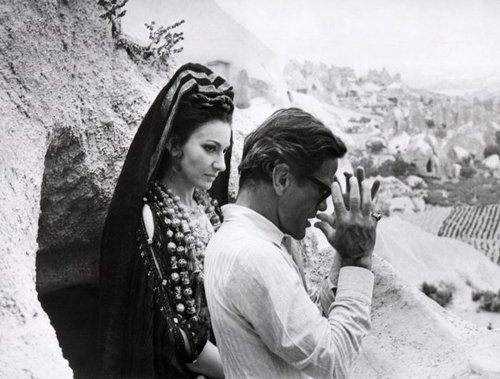 Maria Callas; raw, beautiful, tragic and passionate. Here pictured onaet with Pasolini during the filming of Medea.