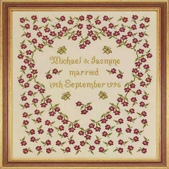 Cross stitch patterns baby girl sampler wedding