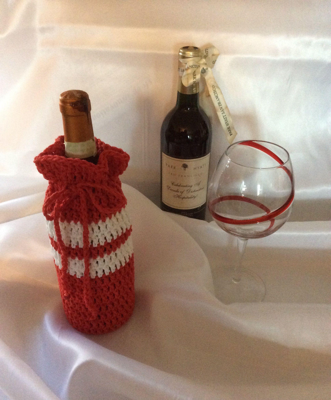 Crochet Wine Bottle Cover Red And White Wine Bottle Cozy By Starrstuffcrafts On Etsy Bottle Cozies Wine Bottle Covers Bottle Cover