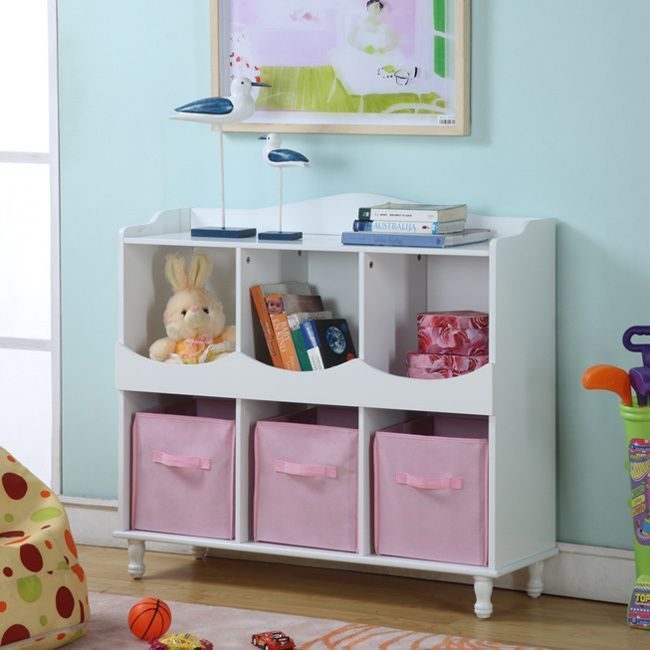 The Three Pink Fabric Storage Bins In This Shelf Make It Easy For Your  Little One