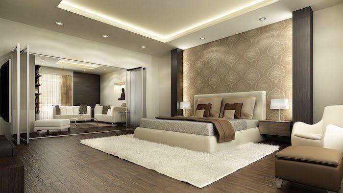 Wooden Floor Bedroom Ideas For Women White Carpet White Leather Bed Frame Led Lights In 2020 Luxury Bedroom Master Modern Luxury Bedroom Modern Bedroom Design