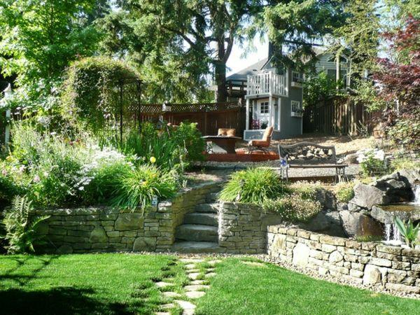 Garten Steinmauer Design Idee Rasen Terrassen Gestaltung
