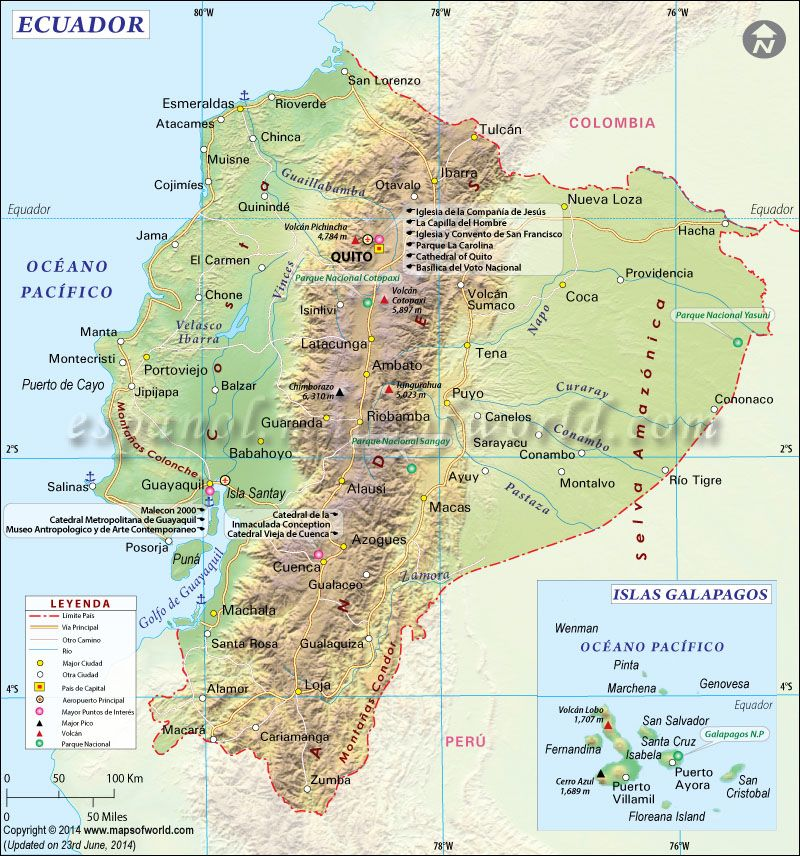 Physical Map Of Ecuador Ezilon Maps South American Federation - Physical map of ecuador