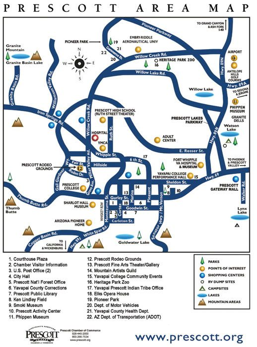 Map Of Arizona Prescott.Day Trip Prescott Az Family Fun Prescott Arizona Area Map Arizona