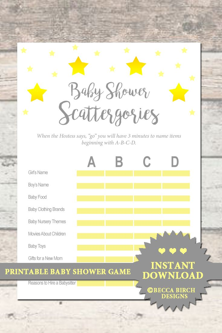 bf85ab96ff4b5 Baby Shower Scattergories - Baby Shower Game - Yellow and Grey ...