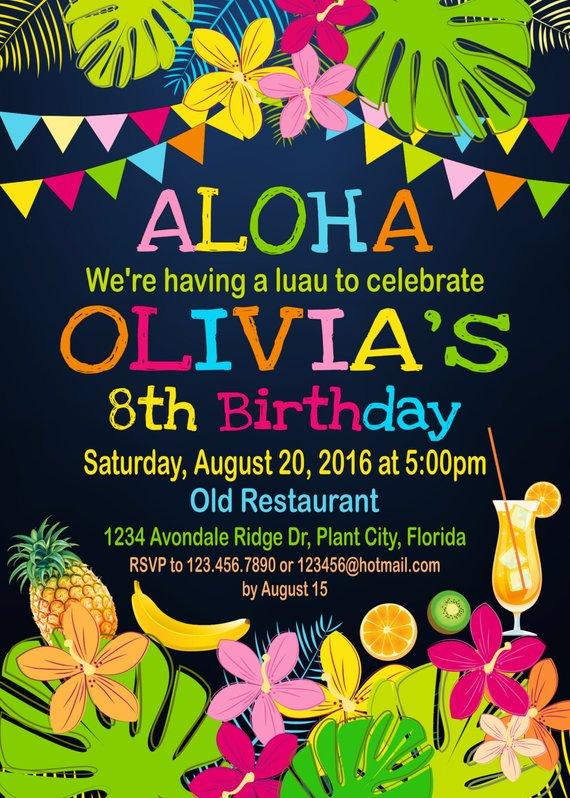 Luau Birthday Invitation Aloha Invitation Aloha Hawaii Birthday