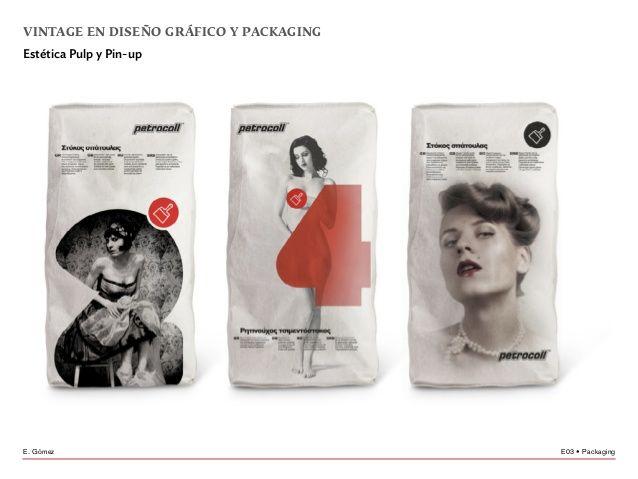 E03 • PackagingE. Gómez vintage en diseño gráfico y packaging Estética Pulp y Pin-up