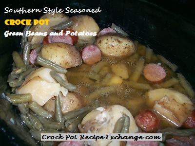 Southern Style Seasoned Crock Pot Green Beans and Potatoes