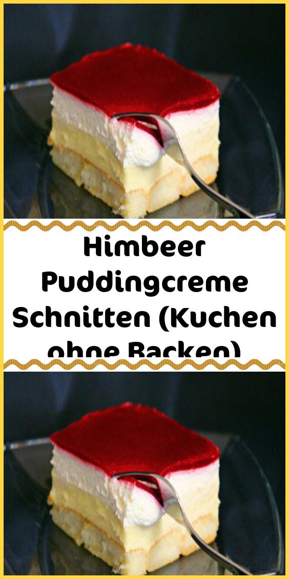 Himbeer Puddingcreme Schnitten (Kuchen ohne Backen) -  Zutaten Boden: ca. 400 g (30-35 Stück) Biskotten (am besten die dicken z.B Marke Savoiardi) 300 ml - #ApfelKuchen #backen #himbeer #kuchen #ohne #puddingcreme #schnitten #Schokokuchen #TortenRezepte #christmasbakingideas