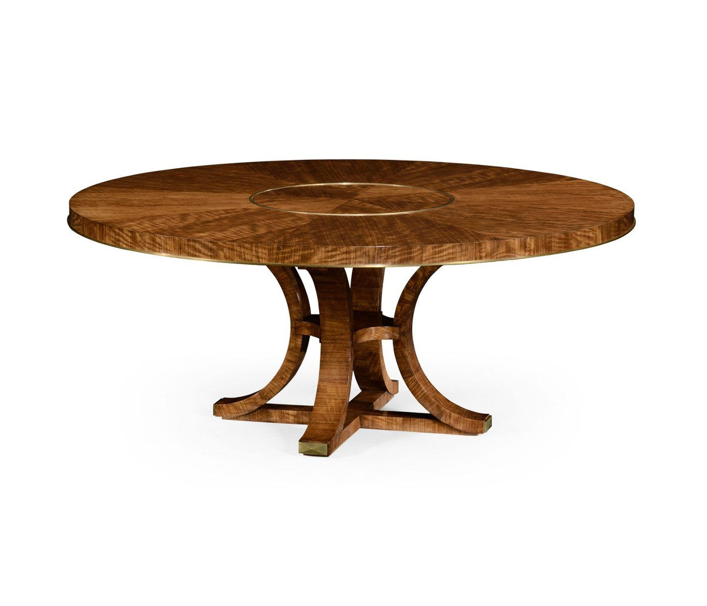 Transitional 72 Inch Round Dining Table With Brass Inlay And Lazy
