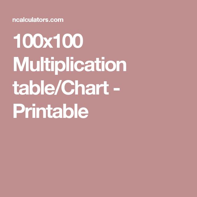 100x100 Multiplication Tablechart Printable Home School