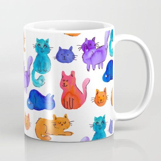 Fluffy Watercolor Cat Pattern Mug by Erika Biro   Society6