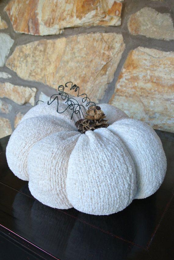 Cream UpCycled Sweater Pumpkin Fabric Pumpkin by AUdesignsStudio, $25.00