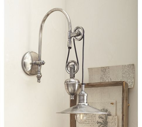 Packard pulley single sconce pottery barn light wall home new packard pulley single sconce pottery barn light wall home for pottery barn bathroom lights aloadofball Image collections