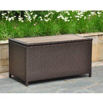 Amazon Com Barcelona Wicker Resin Aluminum Patio Storage Trunk Finish Black Antique Deck Boxes Patio Lawn Outdoor Storage Trunk Outdoor Wicker Outdoor