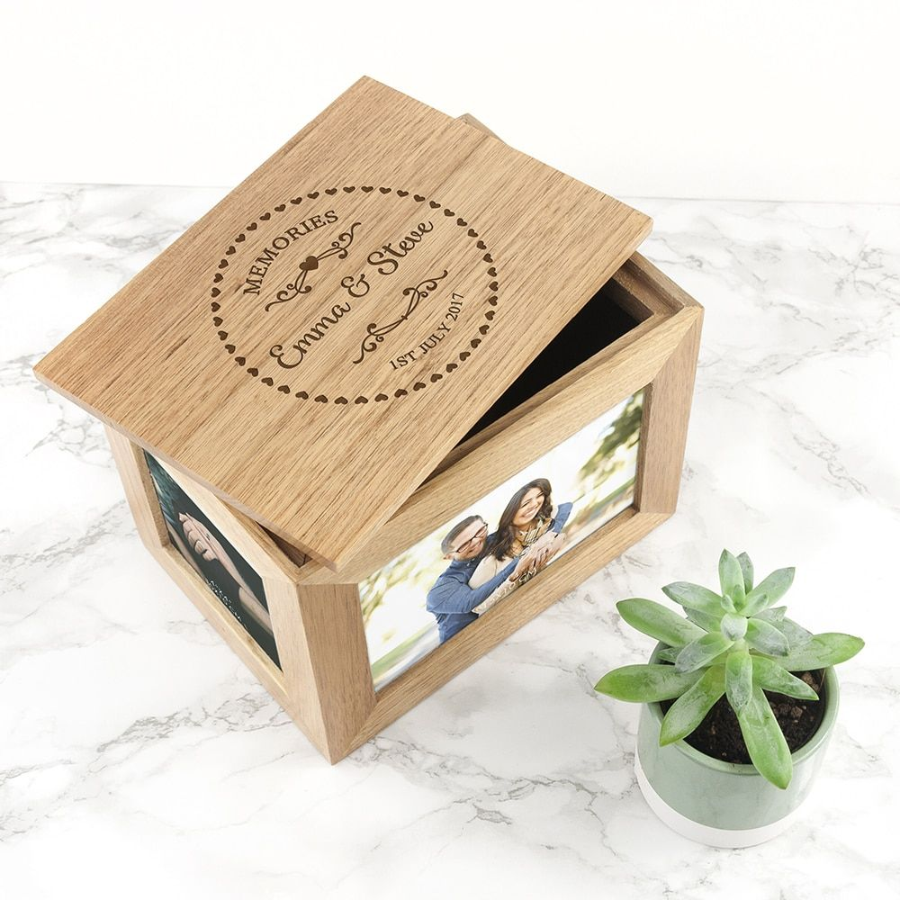 Keepsake Wedding Gifts: Personalised Heart Framed Couples' Midi Oak Photo Cube