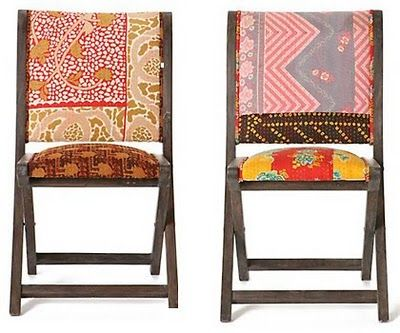 I have some plain ol' brown and black folding chairs from Target that could use this treatment!
