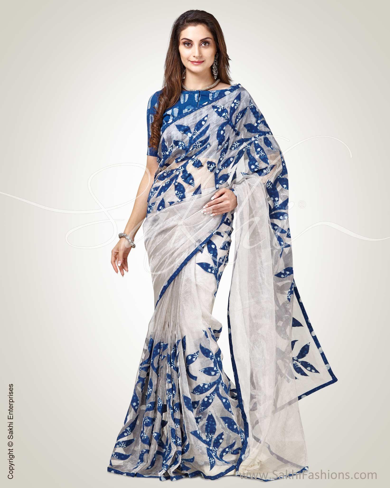f0f1fc6b20 Look stylish in this Silver & Blue Pure Tissue Kota Saree designed with  kalamkari applique work on body and pallu #design #blue #tissue #saree  #fashion # ...