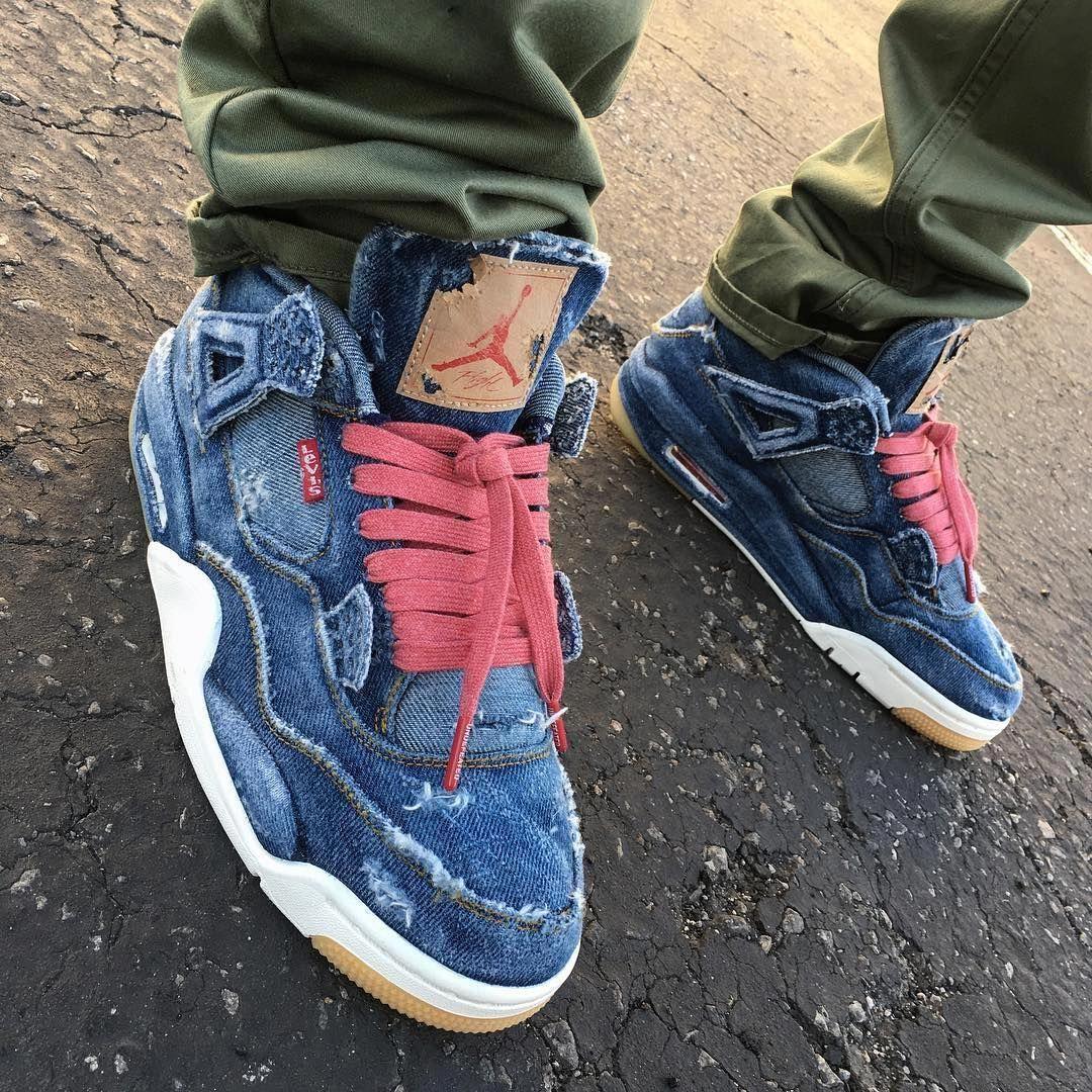 separation shoes 657c4 6895a Levis x Air Jordan 4 Retro (Distressed Custom)  Sneakers